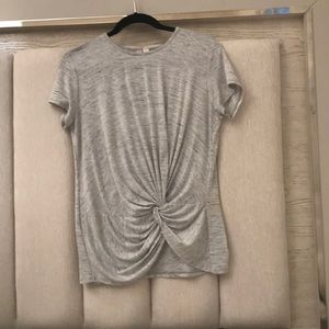 gray striped short sleeve top